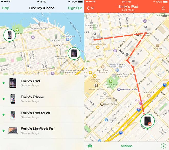 アプリ「iPhoneを探す」を使用中の画面。地図上に位置が表示されています