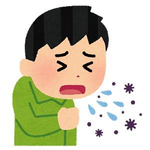 咳でウイルスが拡散。飛沫感染